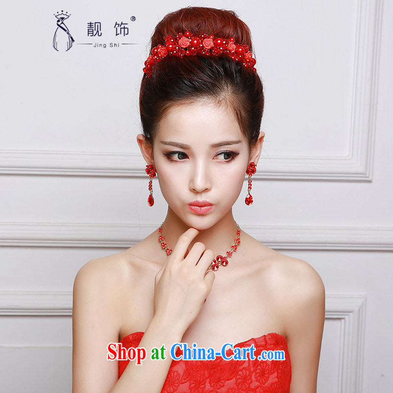 Beautiful ornaments 2015 new bridal head-dress red wedding Crown necklace earrings 3 piece wedding dresses with red Crown Kit 037