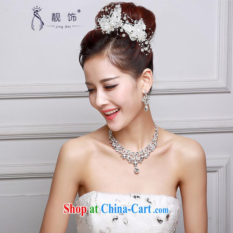 Beautiful ornaments 2015 new bridal headdress white alloy water drilling flowers Crown necklace earrings 3-Piece butterfly headdress SP 32