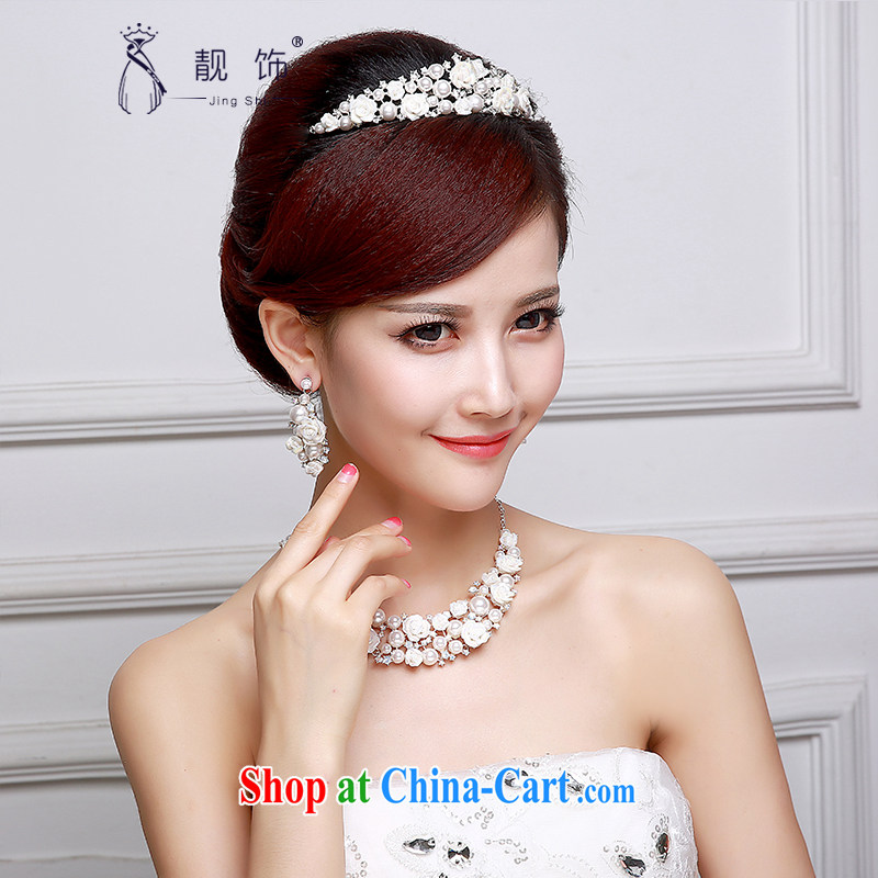 Beautiful ornaments 2015 new bridal jewelry diamond jewelry bridal wedding supplies Crown necklace earrings 3-Piece Crown Kit 001