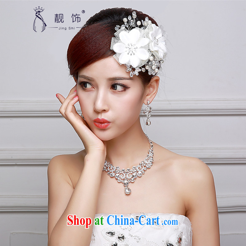 Beautiful ornaments 2015 new bridal headdress necklace ear ornaments Kit White only American Floral bridal Crown wedding accessories accessories white only the US and international 012