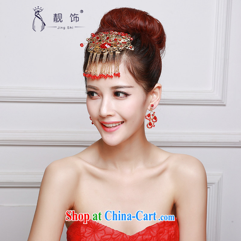 Beautiful ornaments 2015 new bride's red head-dress show reel service and classic bridal headdress photo building supplies Red classic bridal head only and 045