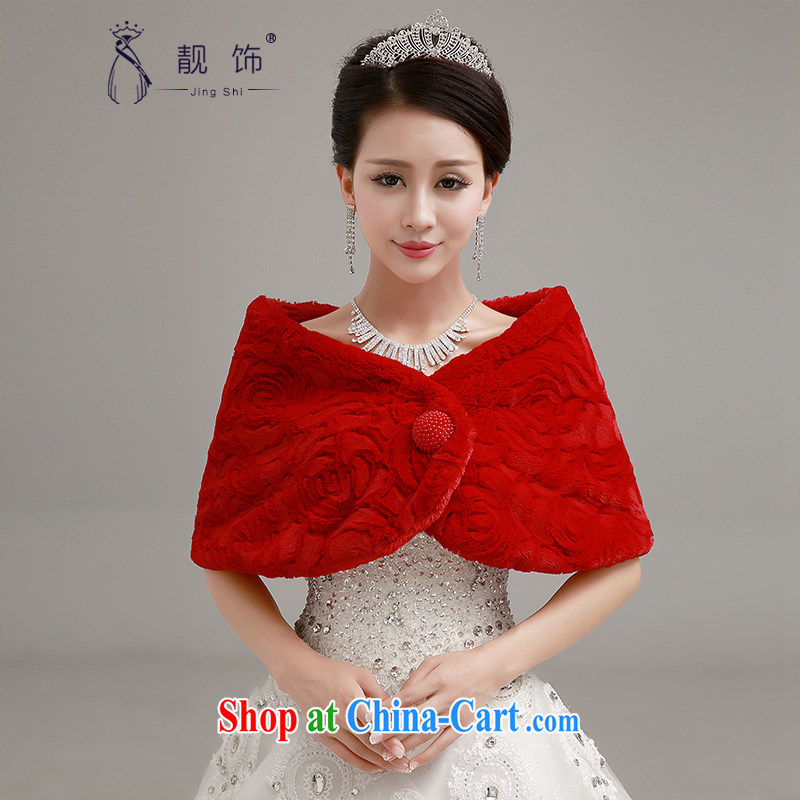 Beautiful ornaments 2015 New Red bridal wedding shawl wedding dresses accessories accessories increase thick double hair shawl red shawl 059