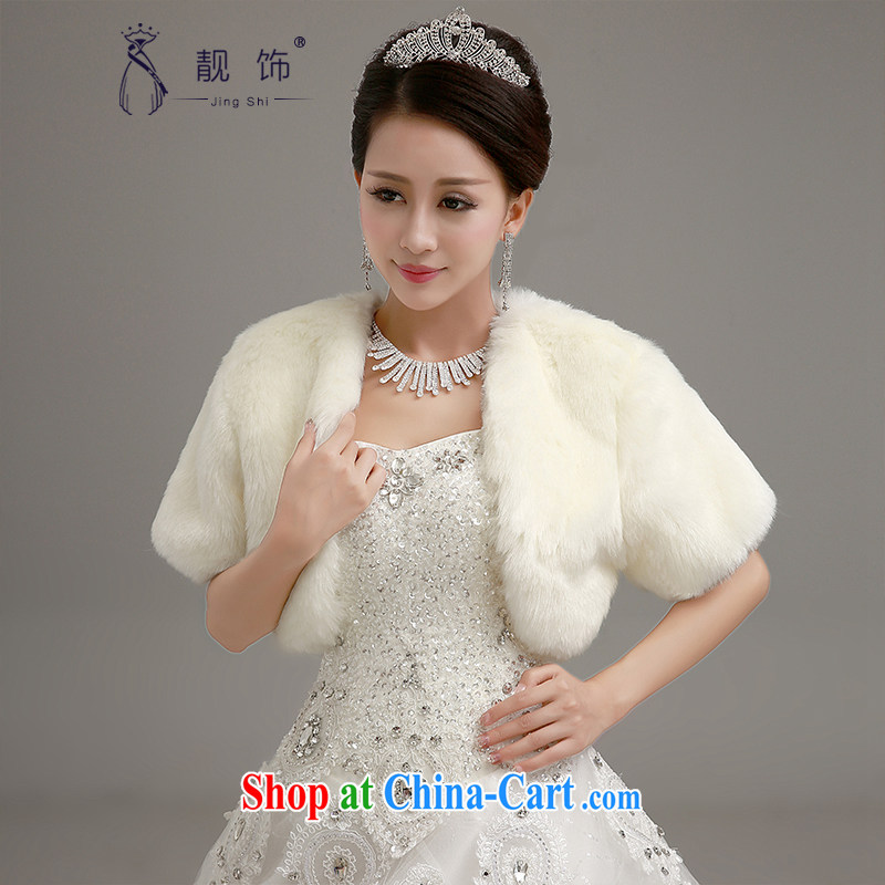 Beautiful decorated Wedding shawl 2015 new long-sleeved thick large shawls winter wedding long white cape white 14,028