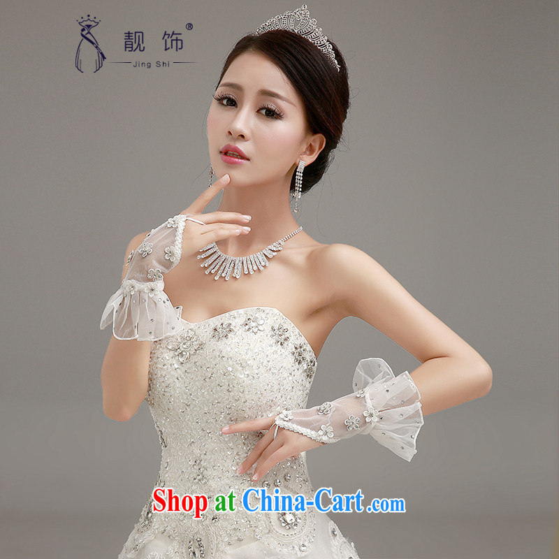 Beautiful ornaments 2015 new luxury lace hand in Bride long gloves wedding dresses accessories accessories white set gloves 052