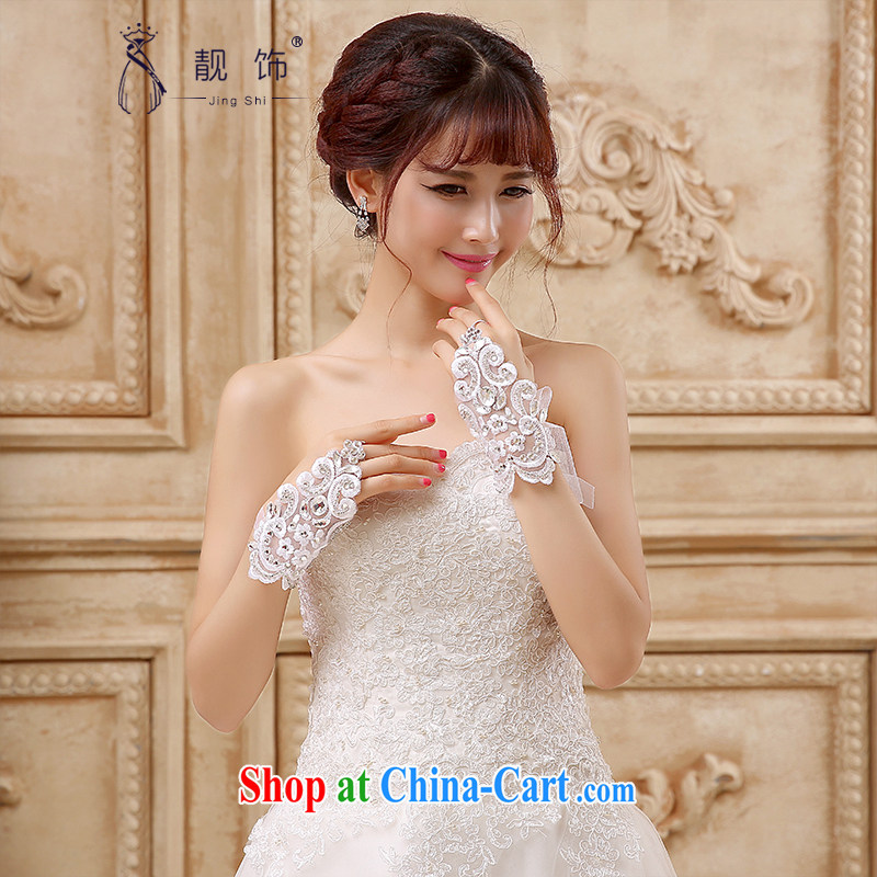 Beautiful ornaments 2015 new luxury lace water drilling bridal short, no mittens wedding accessories accessories white gloves 097