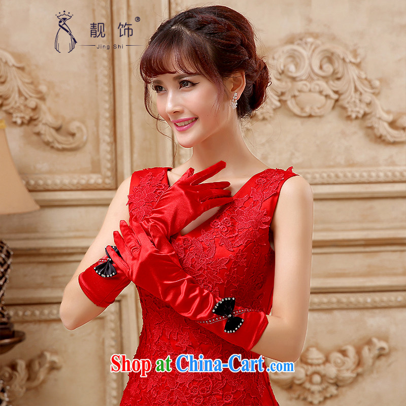 Beautiful ornaments 2015 new bridal red bow tie long gloves wedding dresses accessories accessories red bowtie gloves