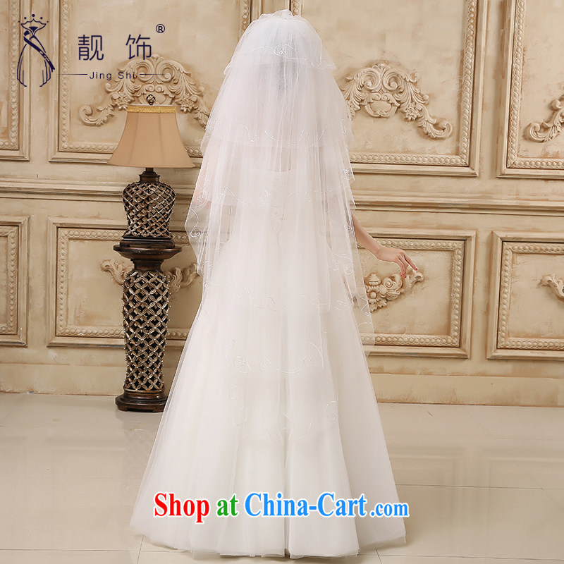 Beautiful ornaments 2015 new white Deluxe Water drilling lace multi-layer and drag to marriages long and legal wedding accessories accessories long white, and legal 032, beautiful ornaments JinGSHi), online shopping