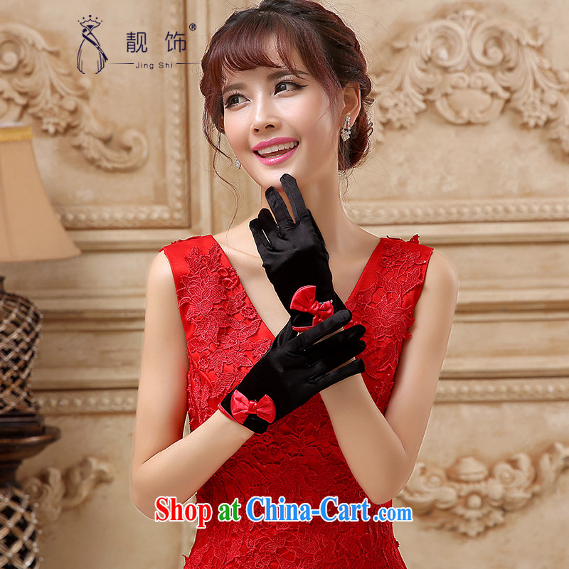 Beautiful ornaments 2015 new bridal wedding dresses accessories accessories no means short gloves Black Gold Red 5 refers to 110 gloves