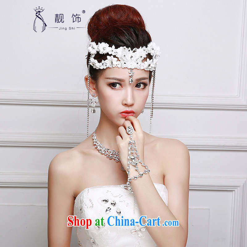 Beautiful ornaments 2015 new bridal headdress white lace flowers Deluxe Water drilling Crown necklace earrings 3-Piece white flowers Kit 061