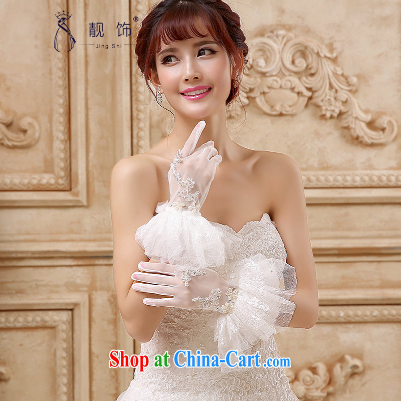 Beautiful ornaments 2015 new Short, standard Web yarn water drilling diamond jewelry bridal gloves wedding supplies white 5 refers to 101 gloves