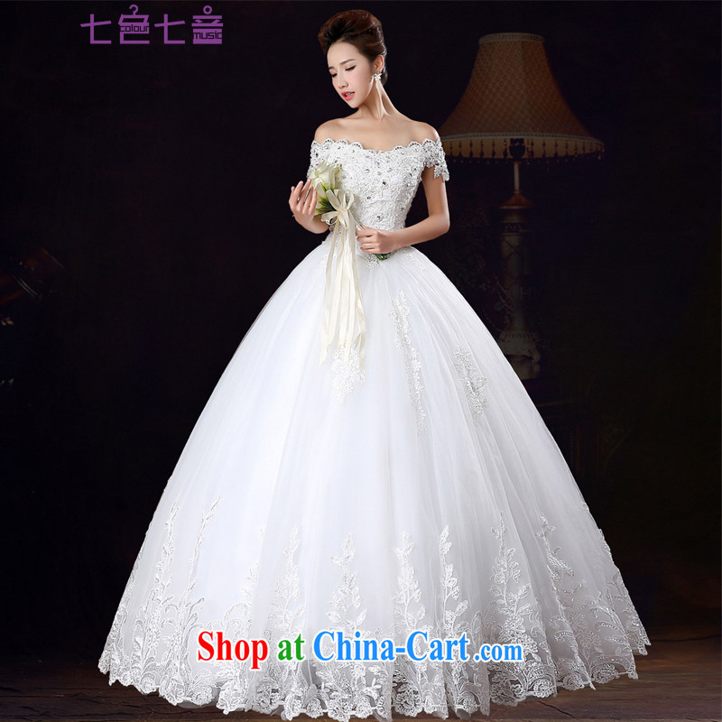 7 color 7 tone Korean version 2015 new stylish with graphics thin the bride cuff a Field shoulder wedding dresses H 067 white tailored is not returned.