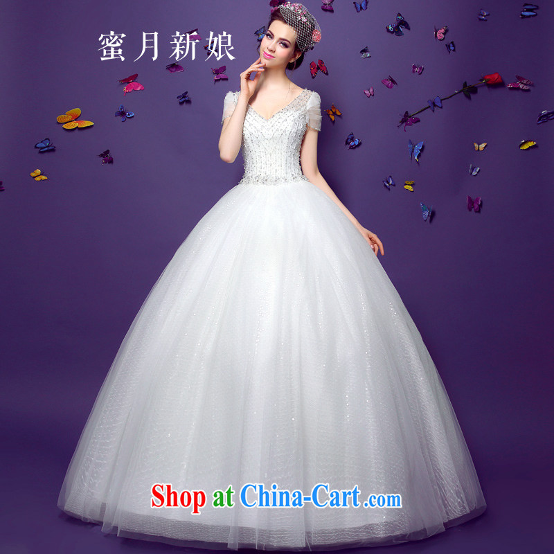 Honeymoon bride summer 2015 new elegant package shoulder wedding dresses women retro beauty graphics thin dream with white XL