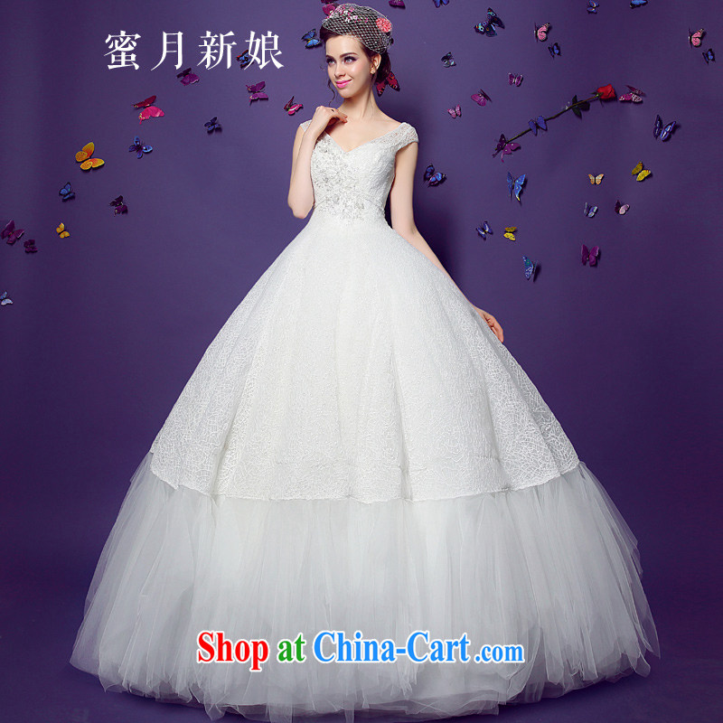 Honeymoon bride summer 2015 new dual-shoulder V collar wedding dresses women in Europe and America beauty retro graphics thin with white XL