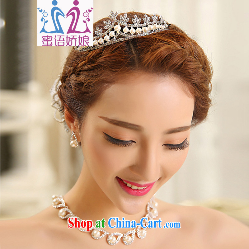 Honey, bride necklace set bridal wedding wedding ceremony dress, necklaces earrings Crown wedding ceremony dress accessories