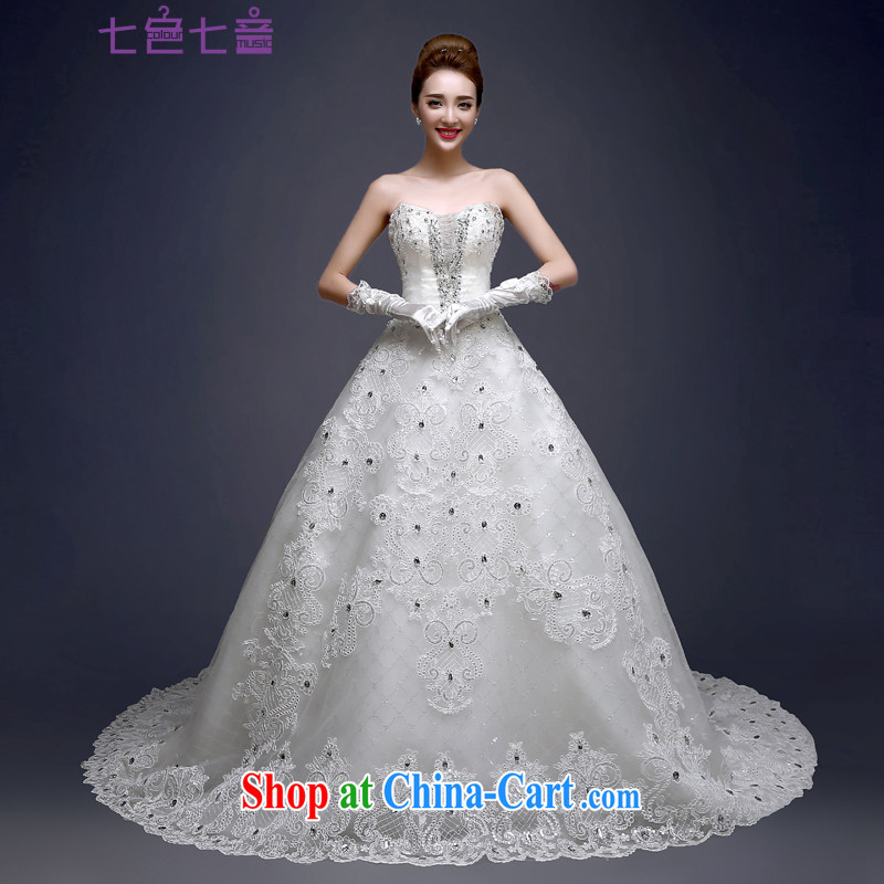 7 color 7 tone Korean version 2015 new stylish marriages wiped chest lace parquet drilling tied with long-tail wedding dresses H 070 white L