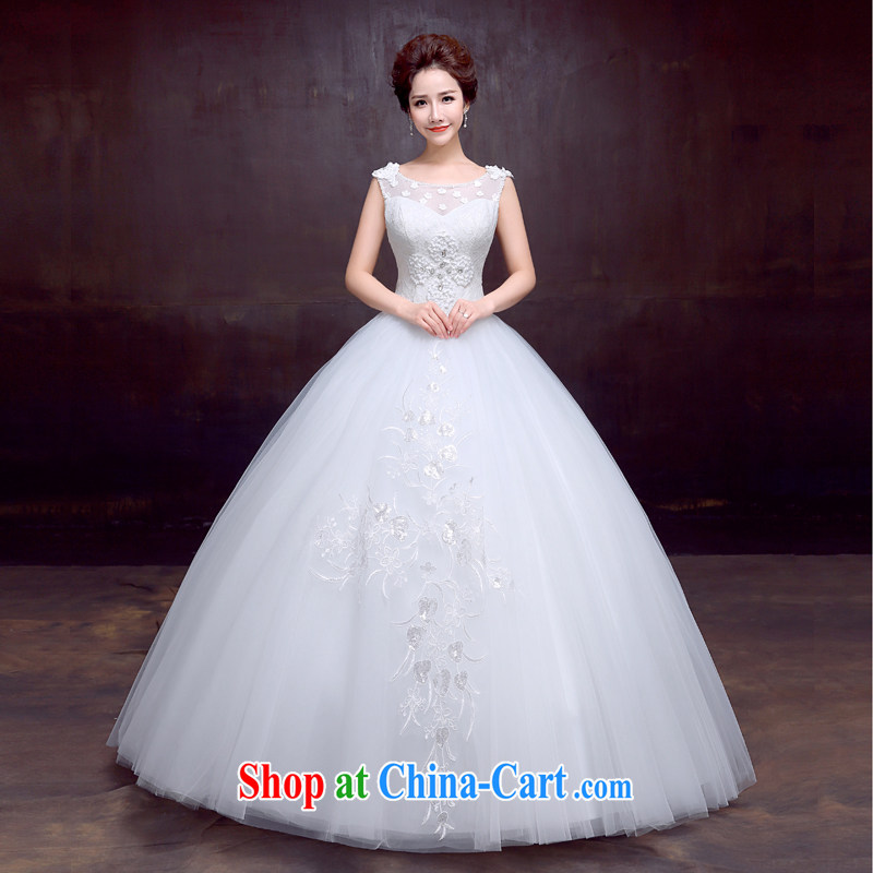 The married Yi wedding dresses new 2015 shoulders flowers graphics thin with sweet Princess bride wedding custom white XXL