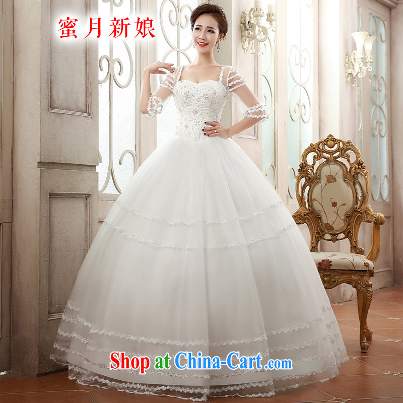 Honeymoon bride spring 2015 new wedding dresses romantic double-shoulder wedding Princess shaggy dress wedding white XL