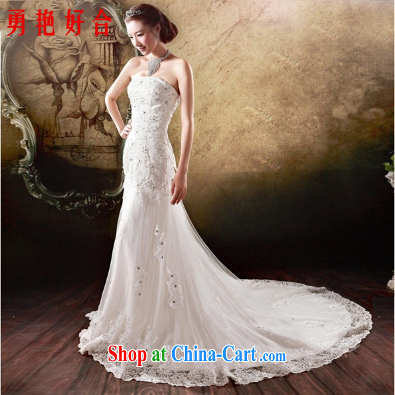 Yong-yan and 2015 new Korean version the waist at Merlion tie embroidered tail bridal wedding dresses handcrafted white. size is not returned.