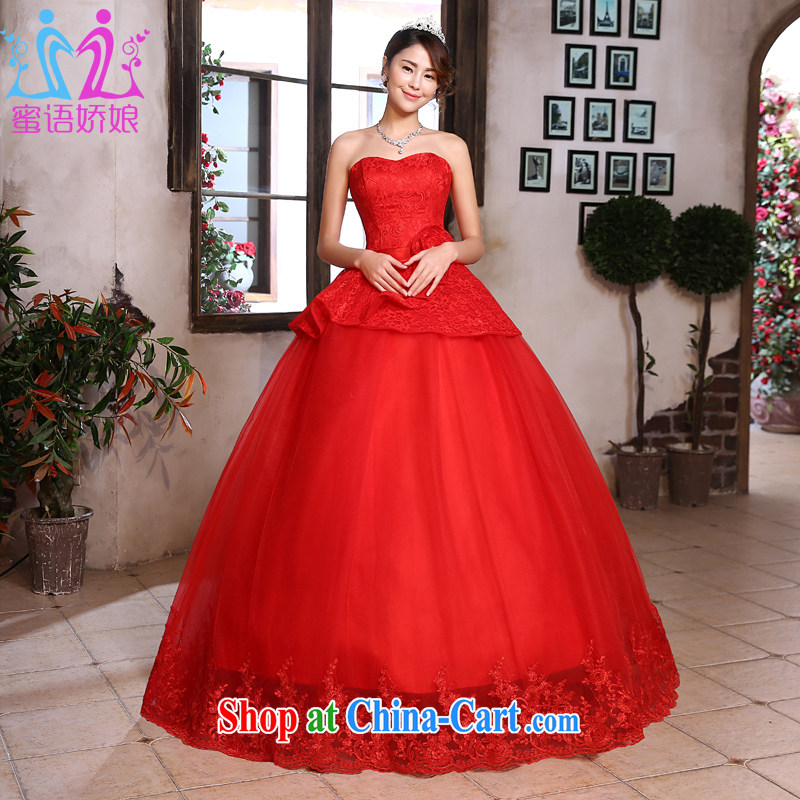 Honey, bride red wedding dresses 2015 new, wipe off his chest in the Code Korean lace marriages back door dress wedding red XXL