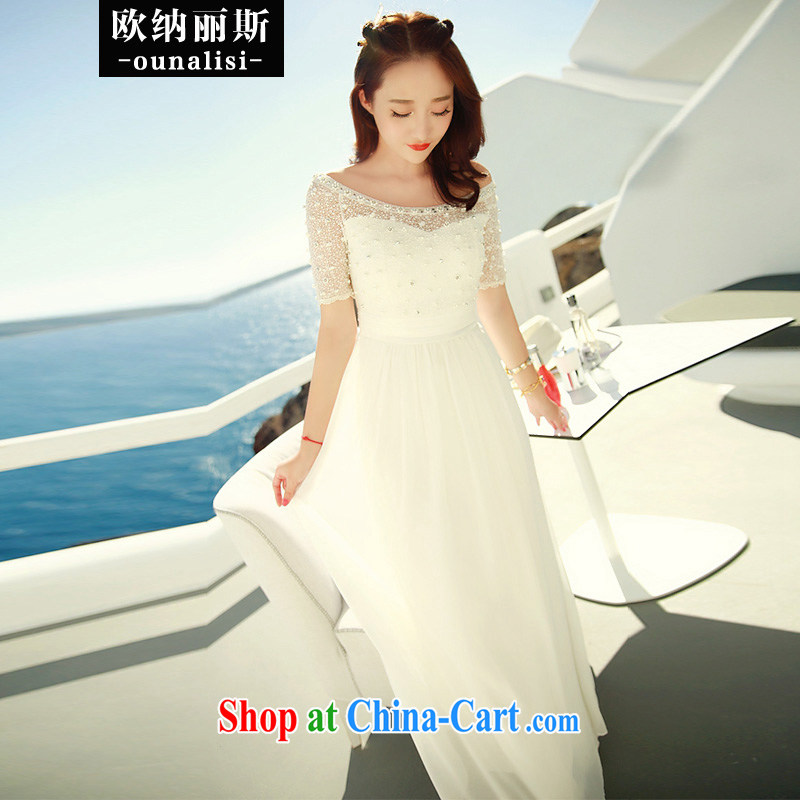 In her 2015 stylish new white lace snow woven dresses nails Pearl bohemian long skirt video thin waist in evening dress bridesmaid clothing bridal wedding white M