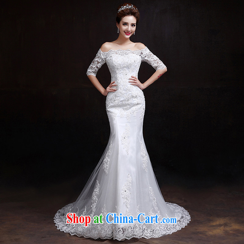 Roll over the married Yi wedding at Merlion last winter, cultivating a Field shoulder crowsfoot wedding Korean-style cuff in lace small tail wedding white XXL