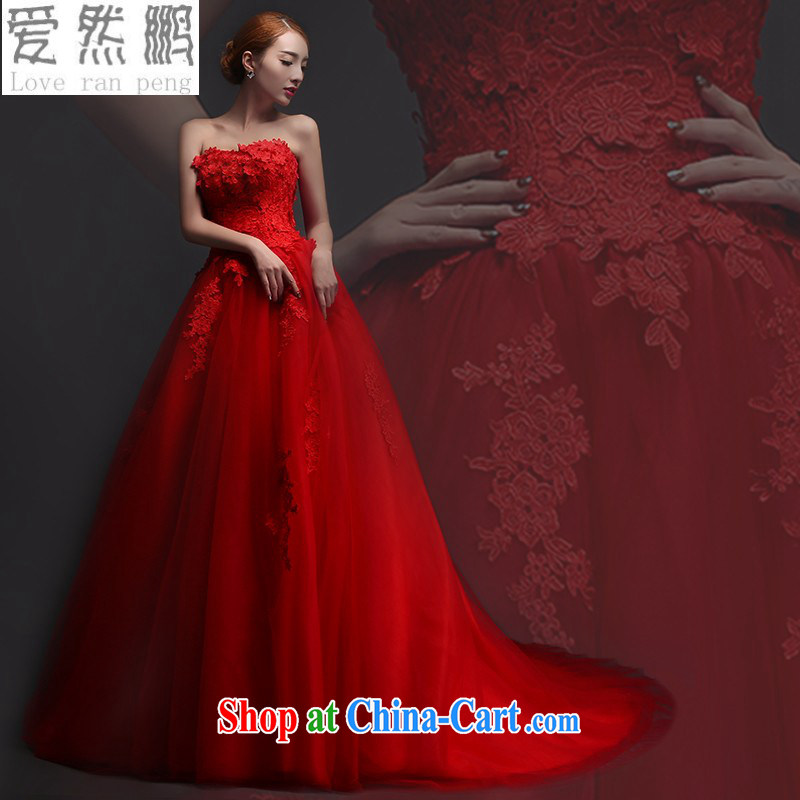 bare chest wedding dresses new 2015 red lace long marriages served toast short spring and winter evening dress red tail Customer to size up to be returned.