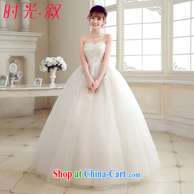 Time his bride's bare chest wedding dresses, Japan, and South Korea wedding dress Princess Korean style with large code pregnant women custom, 2015 new white XXL
