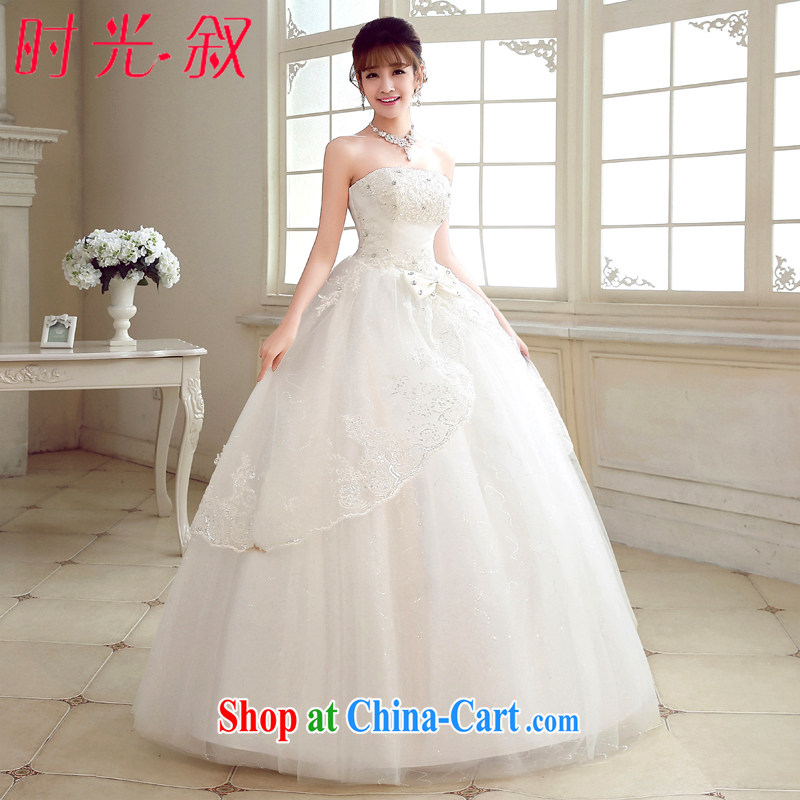 Time Syria, Japan, and South Korea wedding dresses Korean bridal white with bare chest sweet lovely bridal butterfly wedding dresses 2015 new white XXL