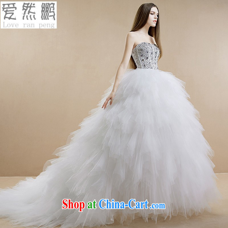 New 2015 stylish wood drill wiped his chest feathers long-tail bridal wedding dresses customer size will not be returned.