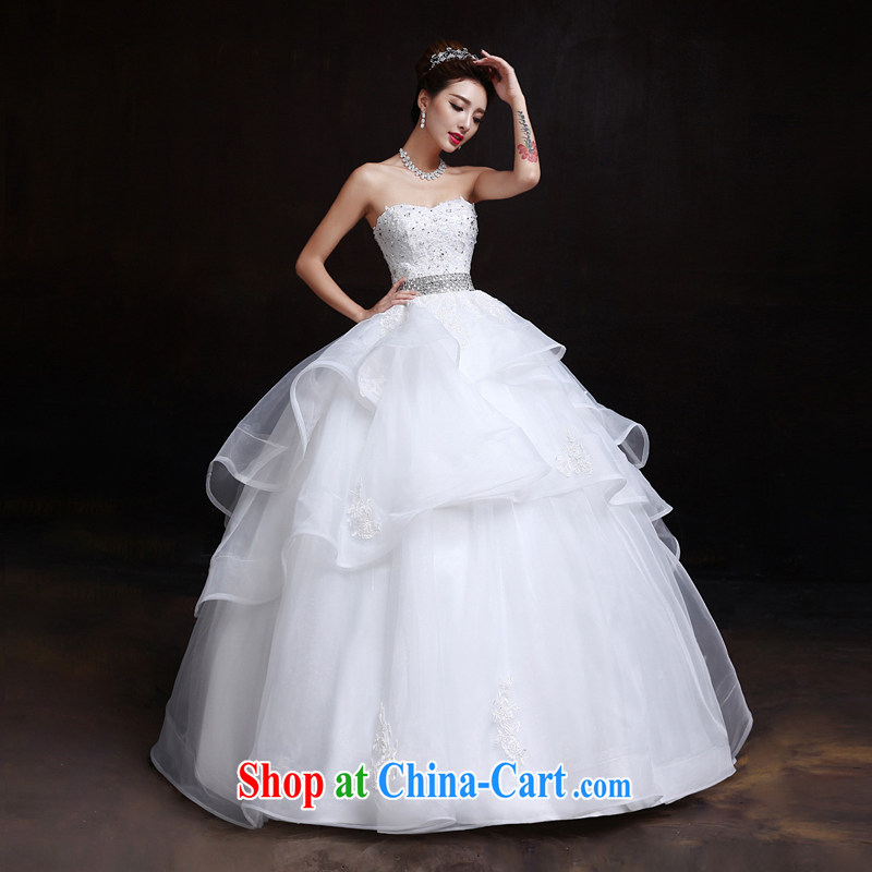 The married Yi wedding dresses new 2015 spring and summer Korean wiped his chest, high-waist graphics thin with pregnant women wedding white XXL