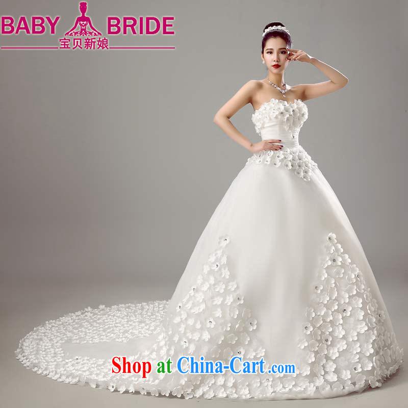 Baby bridal new 2015 wedding dresses shoulders Korean beauty-tail bridal wedding Spring Summer white XXL