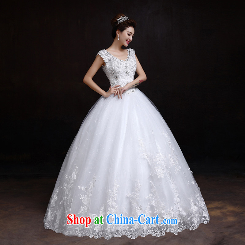 The married Yi wedding dresses new 2015 double-shoulder Deep V collar beauty with white Princess water drilling wedding female white XXL