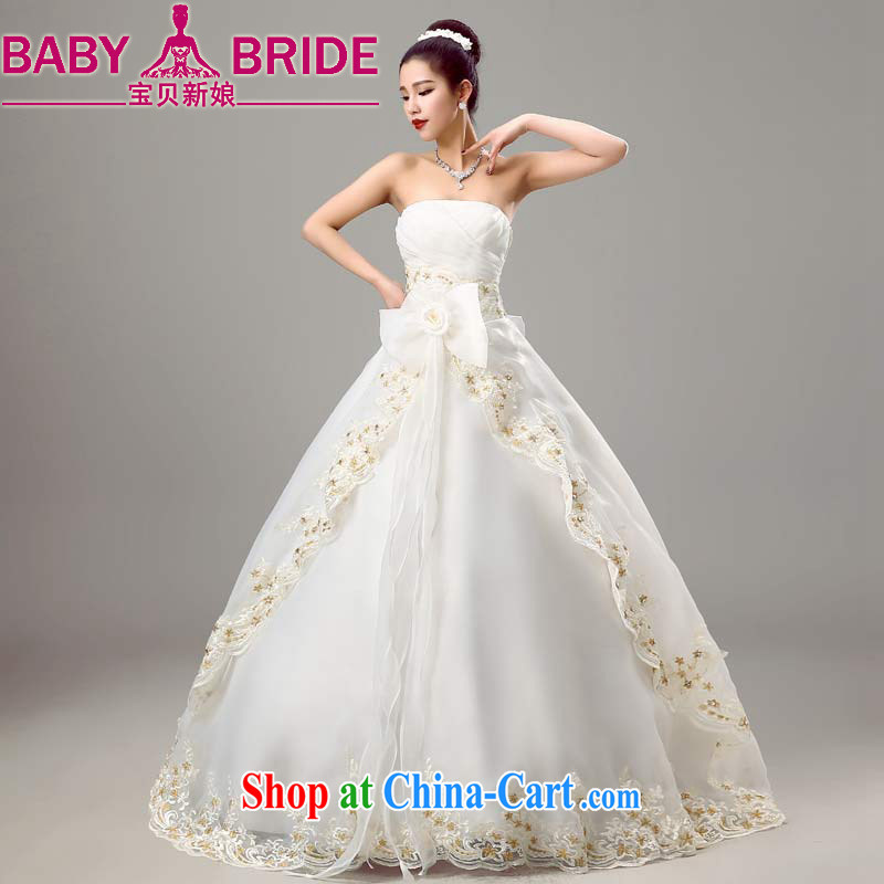 Baby bridal wedding dresses 2015 new spring and summer stylish graphics thin bride wiped his chest Korean-style beauty wedding white XXL