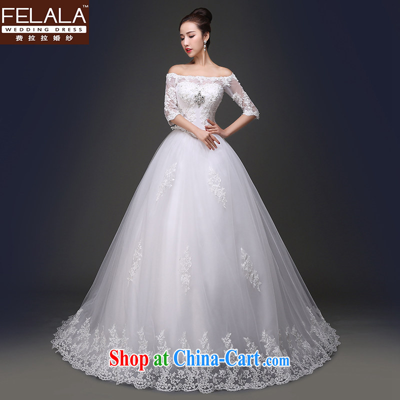 Ferrara 2015 spring and summer new lace a shoulder bolt Pearl water drilling with trailing two wedding with shaggy skirts XL _2 feet 2_