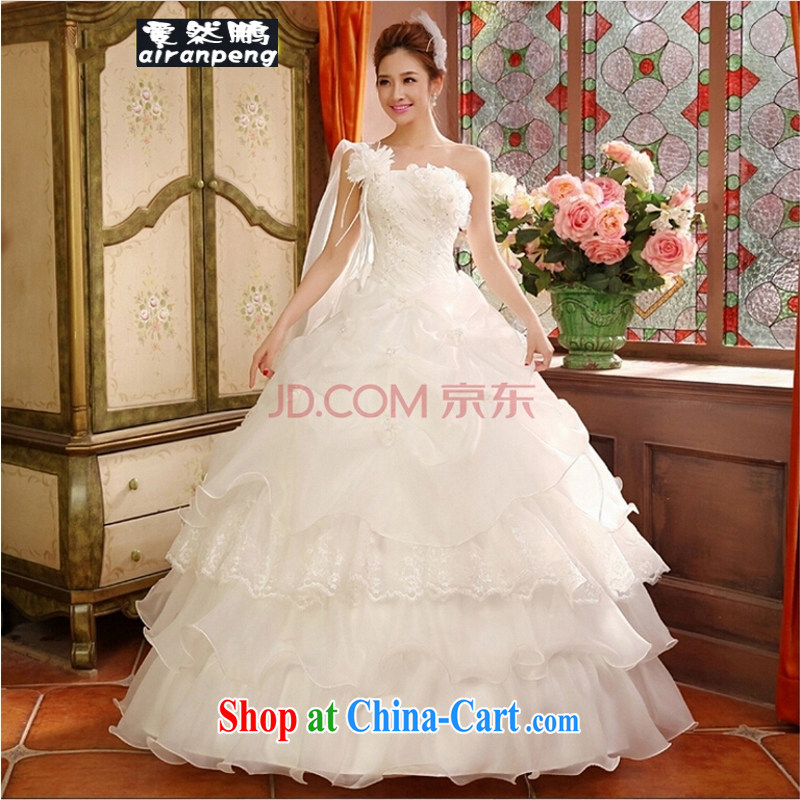 2015 new wedding dresses and stylish Korean-style single shoulder to align the code thick MM graphics thin wedding fall and winter female customer size will not be returned.