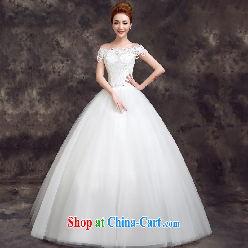 A good service is 2015 new spring and summer bridal wedding dress a shoulder collar with cultivating graphics thin lace wedding white 2XL