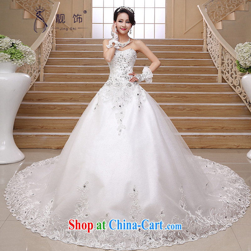 very nice decorated Deluxe Big-tail 2015 new wedding Korean elegant wiped his chest high water drilling long-tail wedding white Deluxe Big and make contact Customer Service