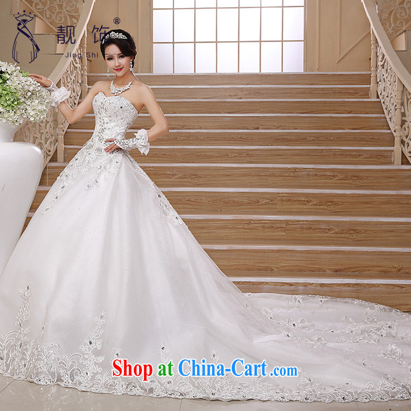 very nice decorated Deluxe Big-tail 2015 new wedding Korean elegant erase chest high water drilling long-tail wedding white Deluxe Big drag and drop it to contact customer service, beautiful ornaments JinGSHi), online shopping