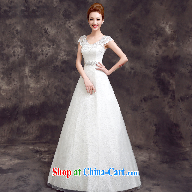 A good service is 2015 new spring and summer bride Korean-style wedding dress beauty stylish lace shoulders with wedding white 2XL