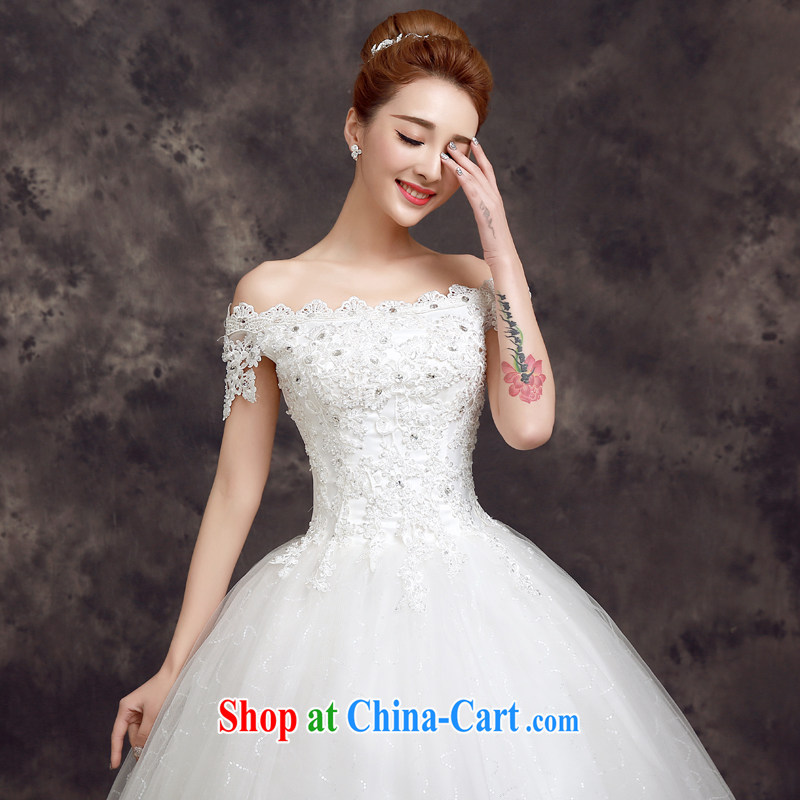 A good service is 2015 spring Korean fashion bridal wedding dress sexy lace a shoulder with wedding white 2XL