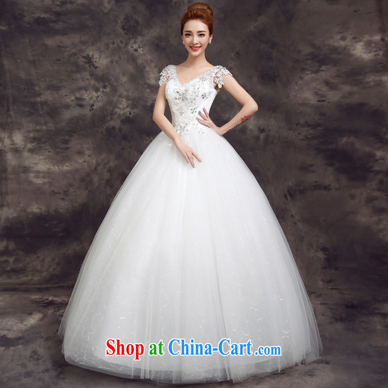 A good service is 2015 new spring and summer Korean bridal wedding dress lace shoulders with beauty and stylish wedding white 2XL
