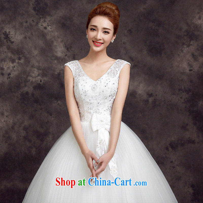 A good service is 2015 new spring and summer fashion bridal wedding dress Korean-style lace shoulders beauty with wedding white 2XL