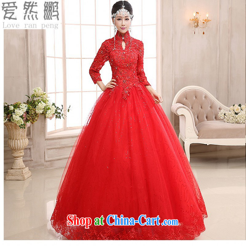 long-sleeved wedding dresses new 2015 winter Thick Red pregnant women wedding Korean-style package shoulder lace-alignment to the customer, the size will be not be returned.