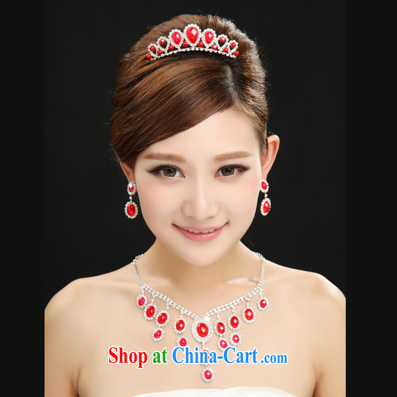 The married Yi marriages and wedding dresses red furnishings 2015 new jewelry 3 Piece Set special red