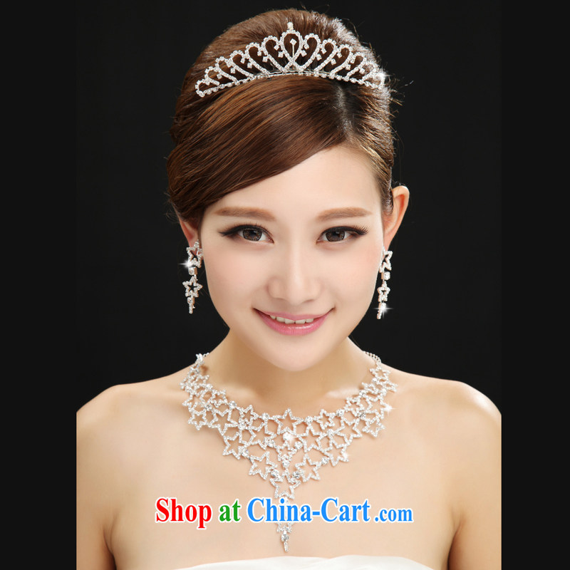 The married Yi bridal headdress earrings 3 piece set Korean-style water drilling hair accessories wedding jewelry wedding jewelry set white