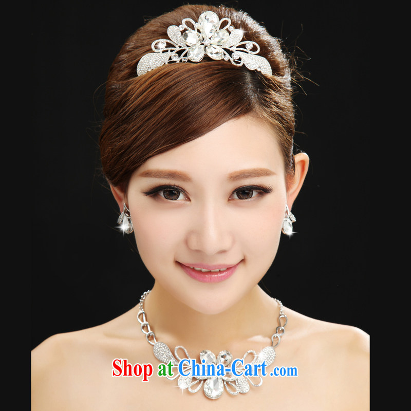 Dumping the married Yi marriages yarn sweet Crown necklace earrings 3-piece kit and jewelry jewelry hair accessories accessories white