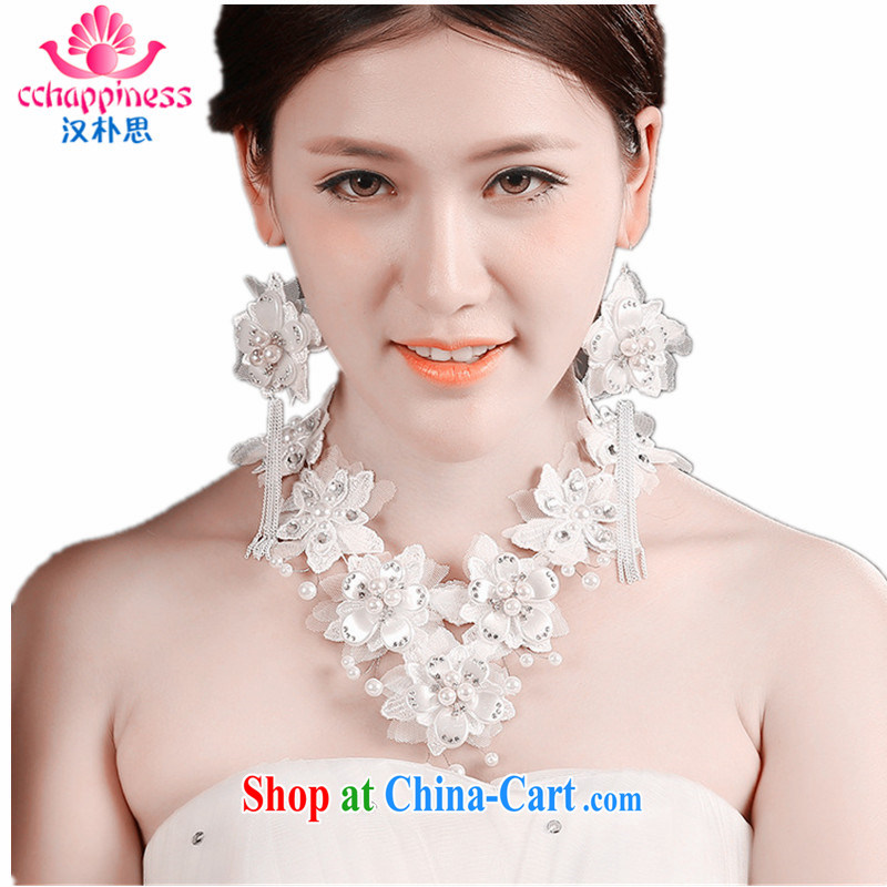 Han Park _cchappiness_ Europe lace retro white necklace and earrings gift boxed white are code
