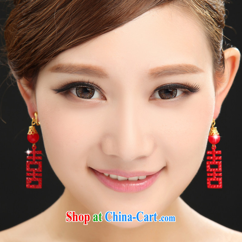 The married Yi bridal earrings wedding head-dress wedding dresses dresses red furnishings 2015 new special red