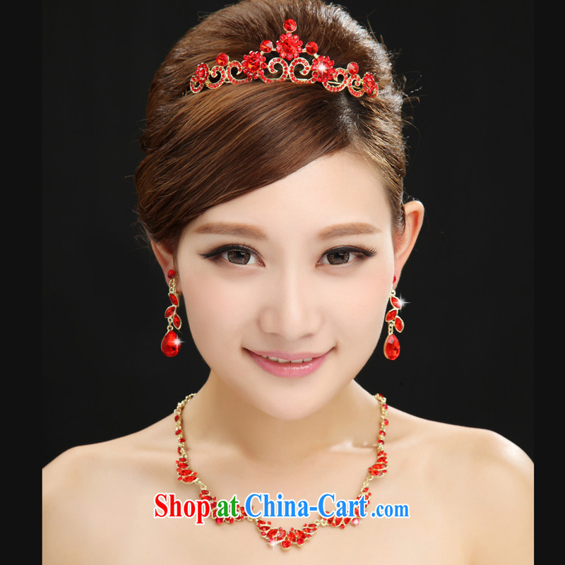 The married Yi marriages and wedding dresses red furnishings 2015 spring and summer new jewelry 3-Piece red