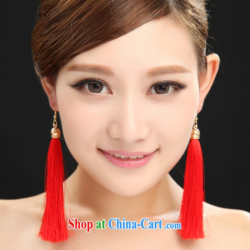 Dumping the woman dresses earrings classical Chinese style red flow so long, bridal earrings toast Clothing Accessories magenta